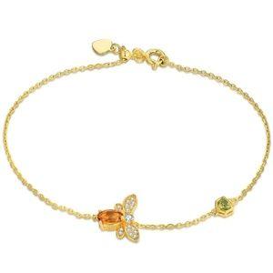 Jewelry - Citrine Honey Bee Peridot Honeycomb Gold Bracelet